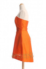 A-line Orange Taffeta Knee Length Bridesmaid Dresses AM327