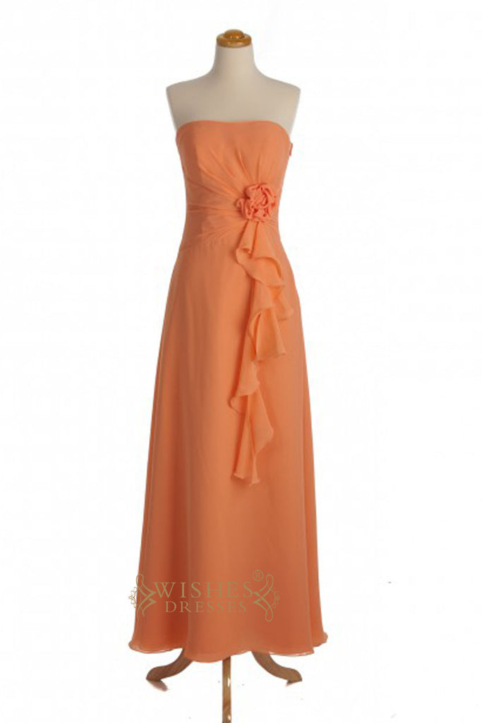 A-line Orange Chiffon Knee Length Bridesmaid Dresses AM328