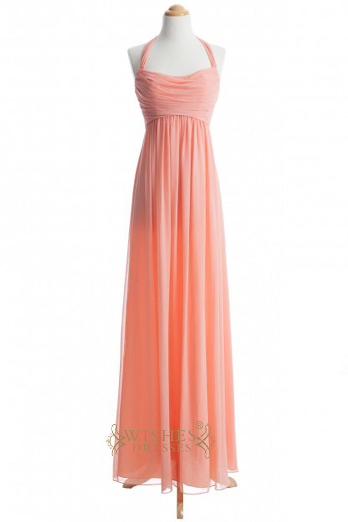 A line Halter Orange Chiffon Floor Length Bridesmaid Dress AM329