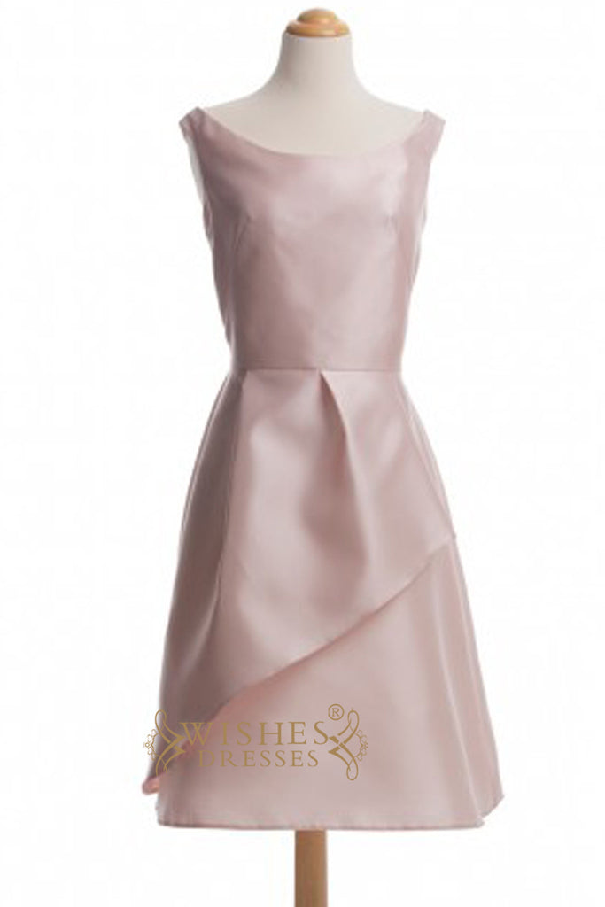A line Scoop Satin Knee Length Bridesmaid Dress AM331