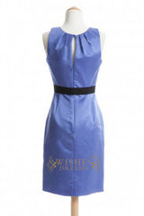 A line Lavender Satin Short Length Bridesmaid Dress AM332