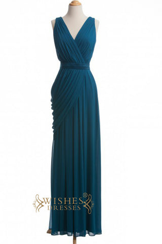 A line V-neck Chiffon Floor Length Bridesmaid Dress AM333