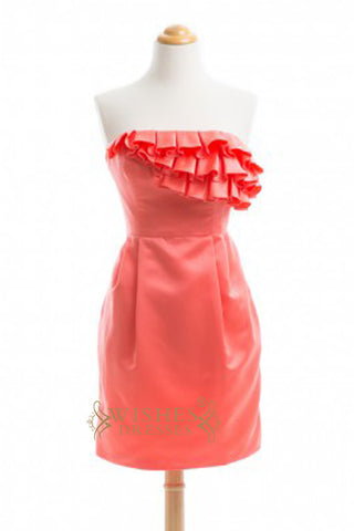 A line Sweetheart Orange Chiffon Floor Length Bridesmaid Dress AM334