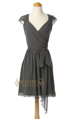 A line Cap Sleeves V-neck Chiffon Knee Length Bridesmaid Dress AM336