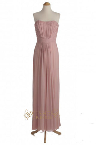 A-line Ruched Floor Length Bridesmaid Dresses AM339