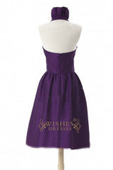 A-line Ruffle Halter Top Taffeta Short Bridesmaid Dresses AM341
