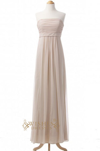 A-line Strapless Long Bridesmaid Dresses AM342