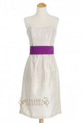 A-line Ruched Taffeta Bridesmaid Dresses With Purple Waistband Sash AM343