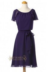 A-line Short Sleeves Light Purple Bridesmaid Dresses With Sash AM344