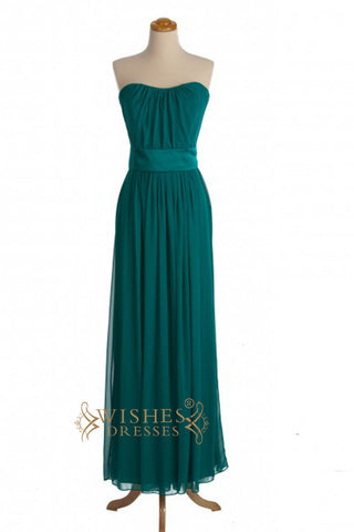 A-line Ruched Green Floor Length Bridesmaid Dresses AM345