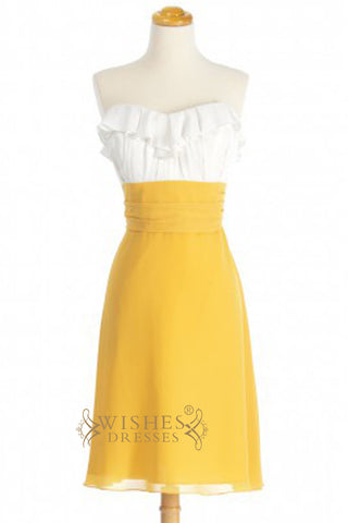 A-line Ruffle Sweetheart White and Yellow Chiffon Bridesmaid Dresses AM346