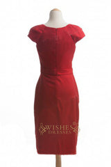 A-line Red Satin Short Bridesmaid Dresses With Short Sleeves AM348