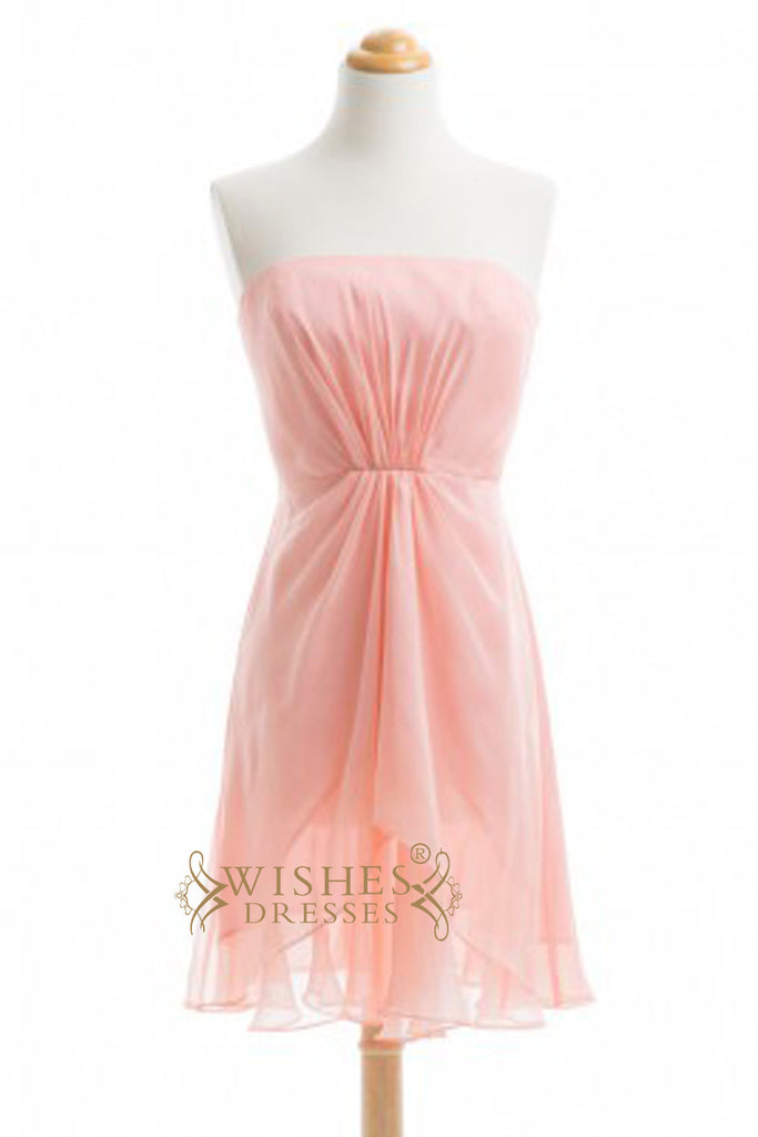 A-line Pink Chiffon Short Bridesmaid Dresses  AM349
