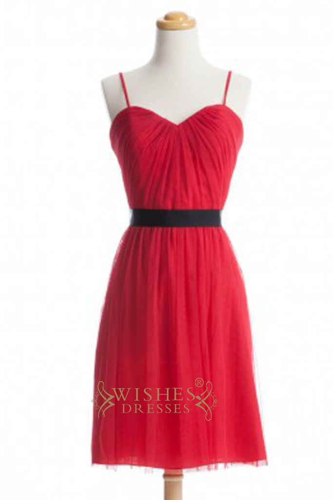 A-line Spaghetti Straps Red Short Bridesmaid Dresses  AM352