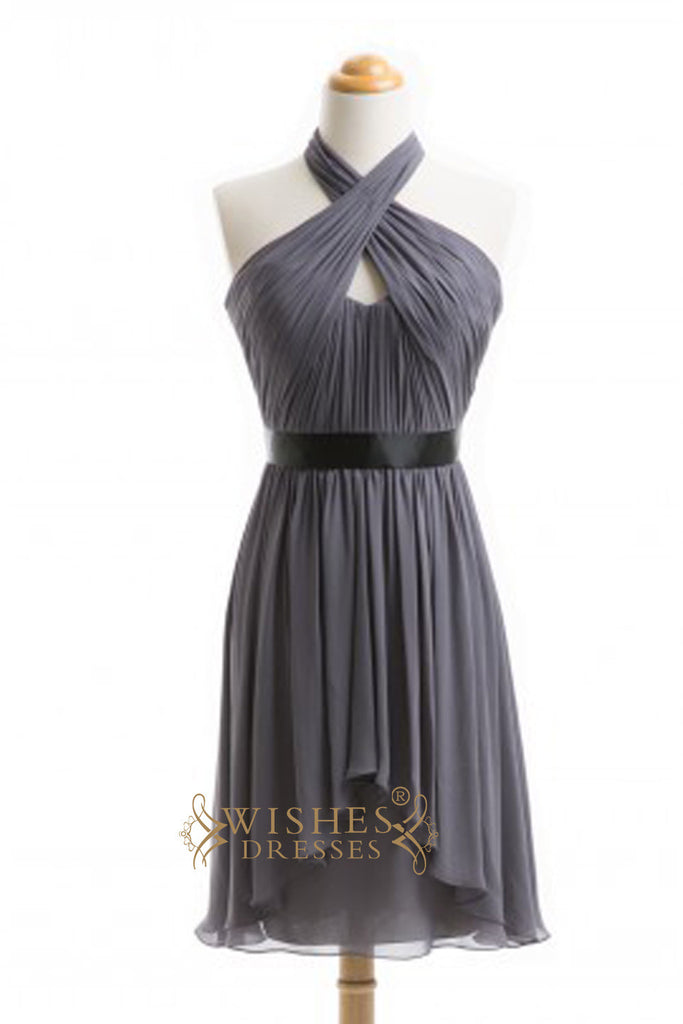 A-line Sexy Halter Gray Short Bridesmaid Dresses  AM353