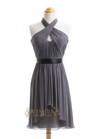A-line Fashion Halter Gray Short Bridesmaid Dresses  AM353