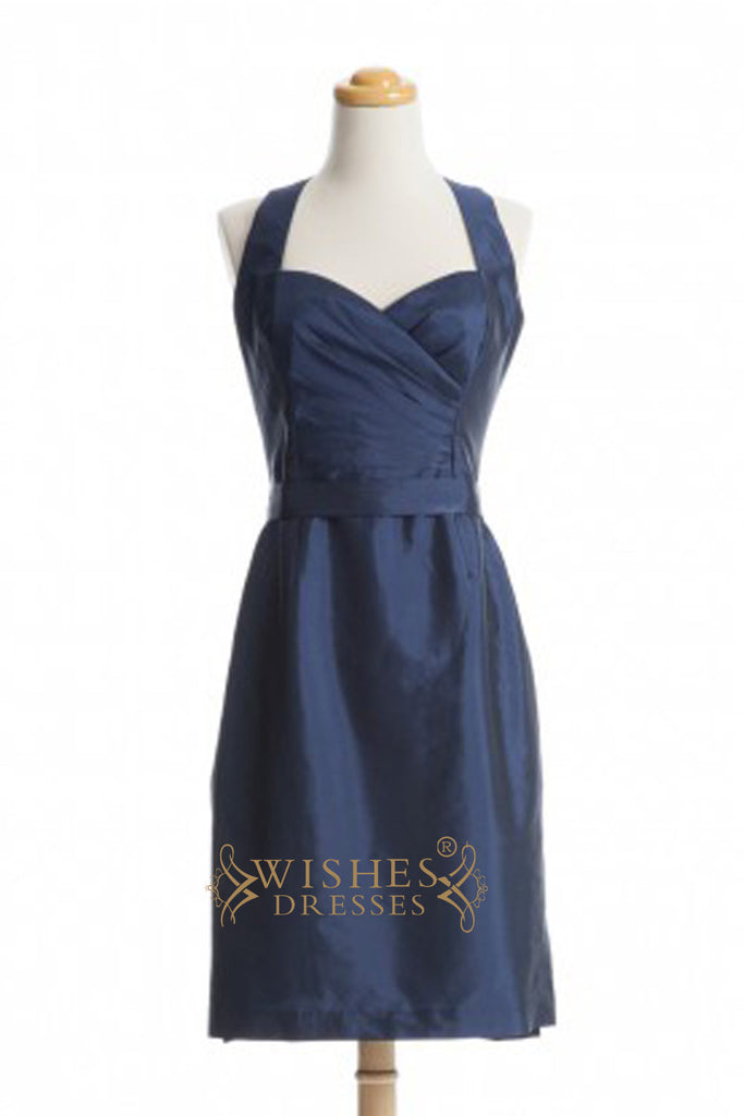 A-line V-neck Gold Satin Short Bridesmaid Dresses With Short Sleeves AM356