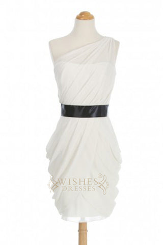 A-line One-shoulder White Short Bridesmaid Dresses With Black Belt AM357