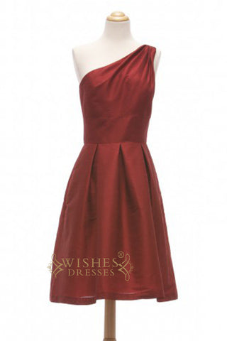 A-line One-shoulder Burgundy Satin Short Bridesmaid Dresses AM358