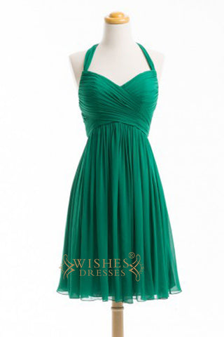 A-line Halter Top Green Chiffon Short Bridesmaid Dresses AM361