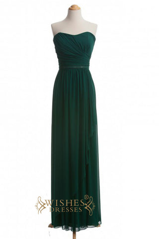 A-line Dark Green Long Bridesmaid Dresses AM363