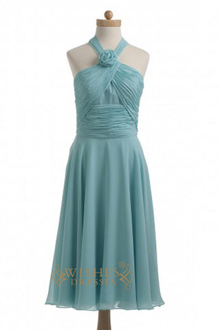 Cheap A-line Teal Chiffon Short Bridesmaid Dresses AM367