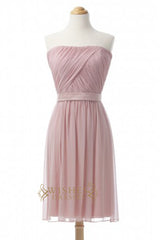 Discount A-line Pearlpink Short Bridesmaid Dresses AM370