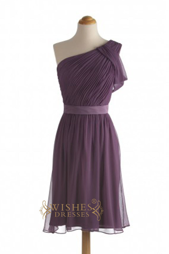 Cheap A-line One-shoulder Grape Chiffon Short Bridesmaid Dresses AM371