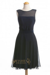 A-line Black Chiffon Bridesmaid Dresses AM372