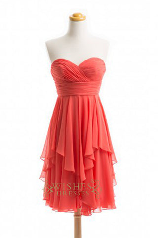 Cheap A-line Coral Chiffon Short Bridesmaid Dresses AM373