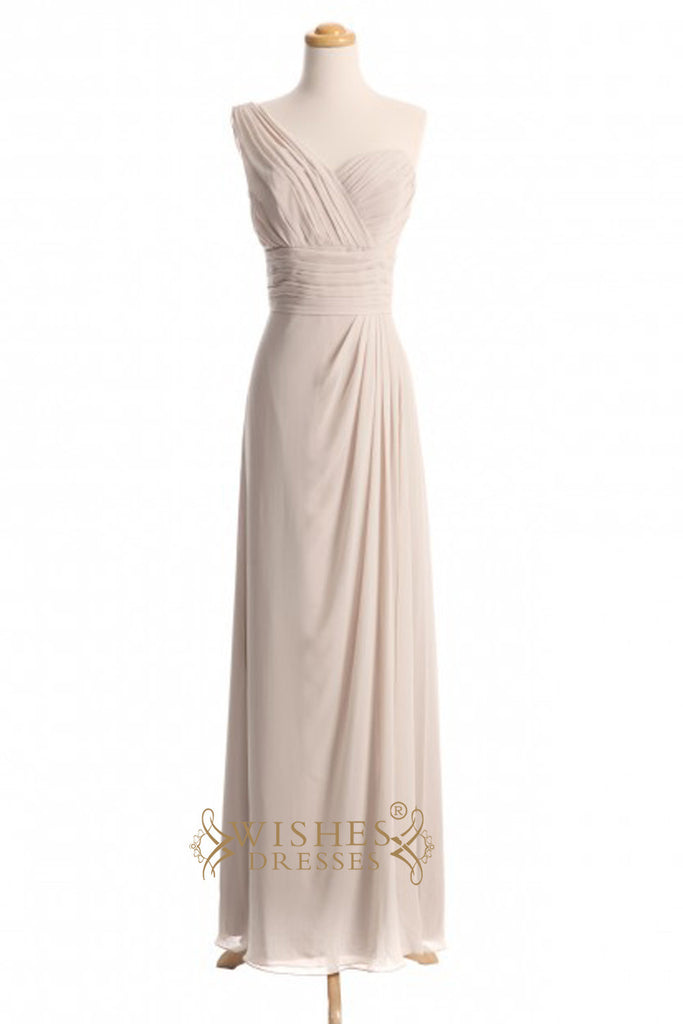 Custom Made A-line One-shoulder Chiffon Floor Length Bridesmaid Dresses AM374