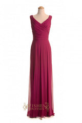 Cheap A-line Dark Red Chiffon Floor Length Bridesmaid Dresses AM375