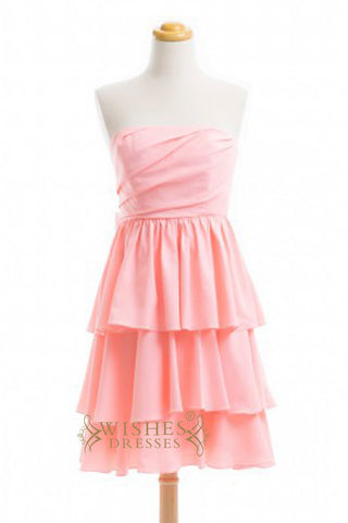 A-line Pink Chiffon Knee Length Bridesmaid Dresses AM379