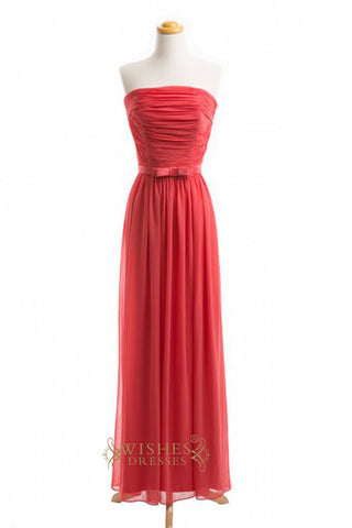A-line Red Chiffon Floor Length Bridesmaid Dresses AM382