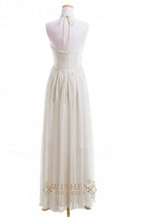 A-line Halter Chiffon Floor Length Bridesmaid Dresses AM385