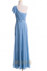 A-line One-shoulder Chiffon Floor Length Bridesmaid Dresses AM386
