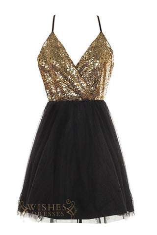 Affordable Gold and Black Short Prom Dress AM420