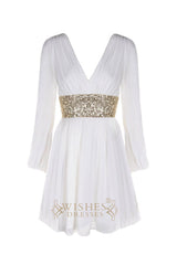 Affordable White Long Sleeves V-neck Formal Dress/ Mother of the Bride Dress  AM422