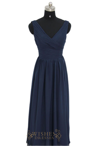 Affordable A-line Sleeveless Dark Navy Long Bridesmaid Dress /Sale!  AM454