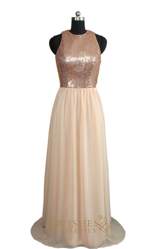 A-line Rose Gold Sequins Bridesmaid Dress/ Evening Dress AM455