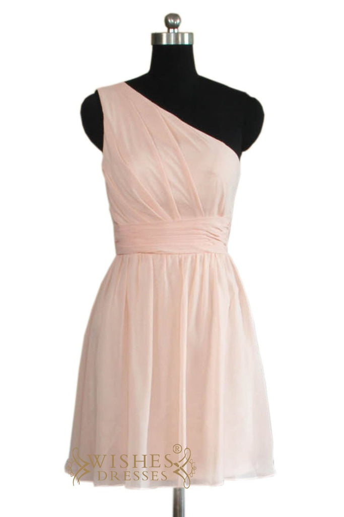 A-line One-shoulder Short Bridesmaid Dress  AM457