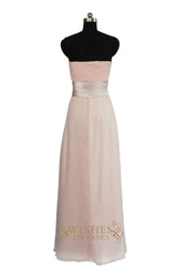 Pink Long Bridesmaid Dress With Ruched Waistband  AM458
