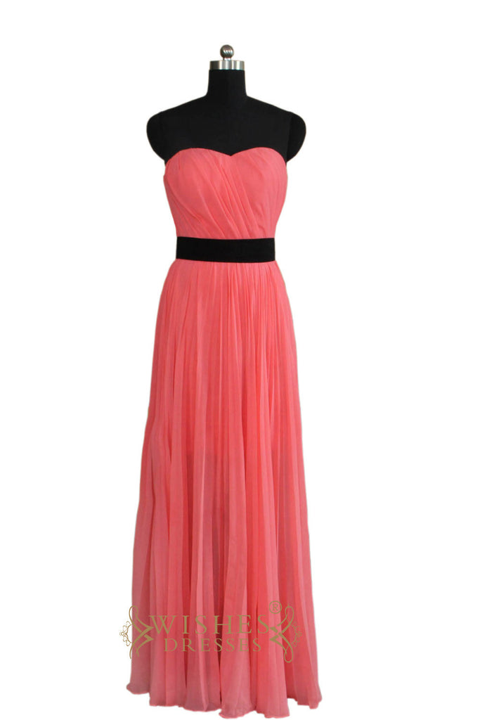 Coral Bridesmaid Dress With Black Sash AM461
