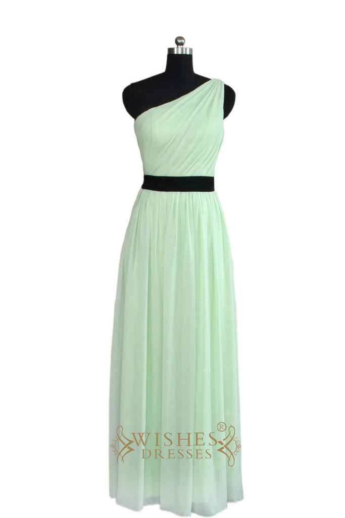 2016 A-line One-shoulder Mint Bridesmaid Dress With Sash AM462
