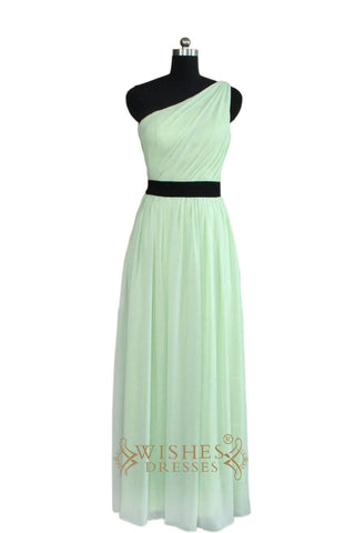 A-line One-shoulder Mint Bridesmaid Dress With Sash AM462