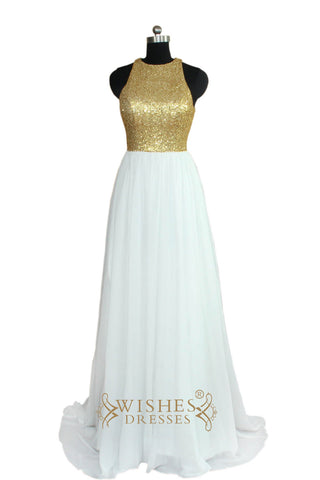 A-line Gold Sequins Bridesmaid Dress/ Evening Dress With Chiffon Skirt AM463