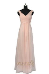 A-line Pearl Pink Chiffon Bridesmaid Dress With V Neckline AM467