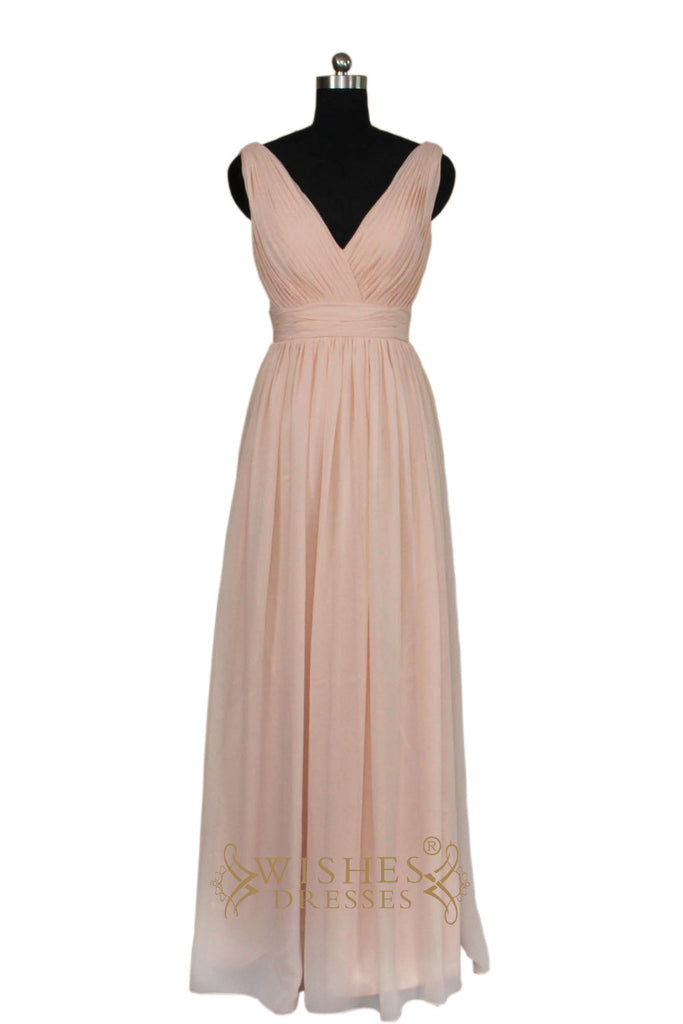 2016 A-line V-neck Bridesmaid Dress With Waistband AM468