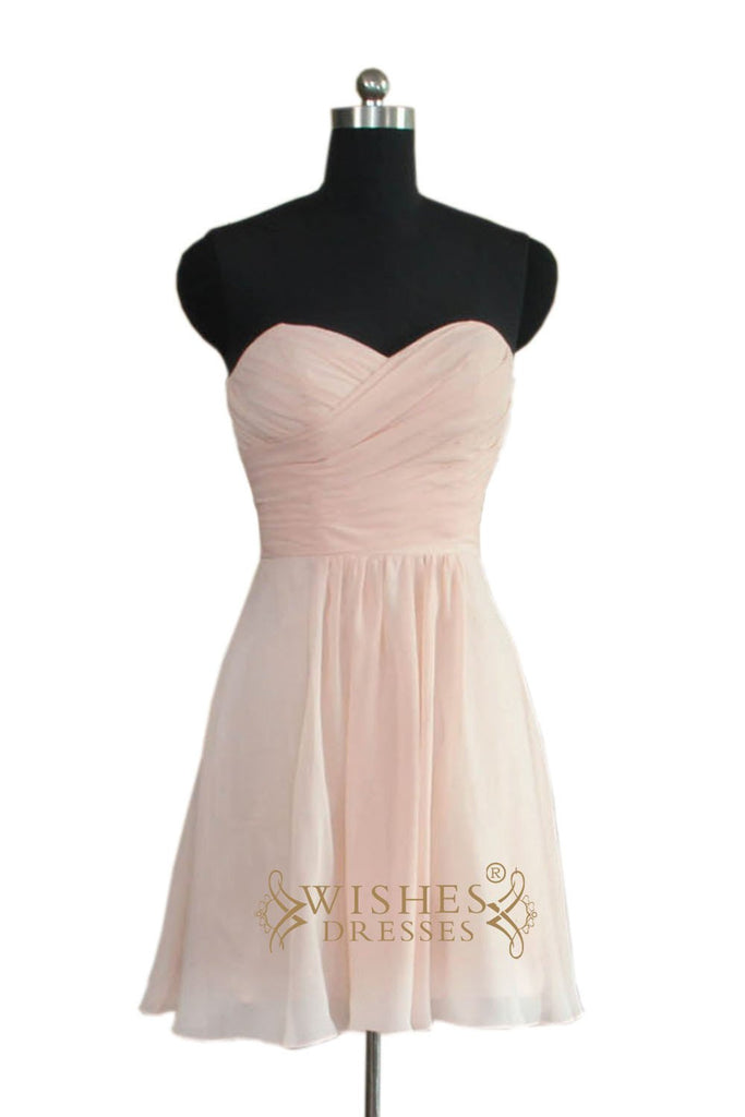 Strapless Sweetheart Pink Bridesmaid Dress AM470
