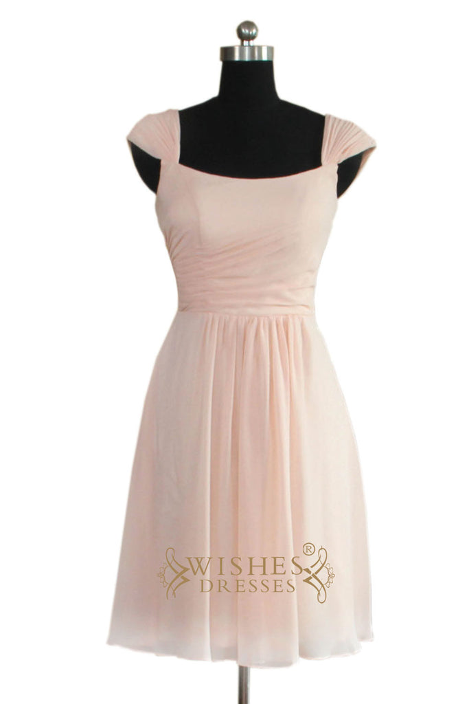 Cap Sleeves Chiffon Bridesmaid Dress AM471